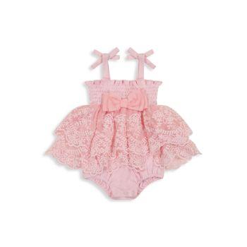 Комбинезон для маленьких девочек с кружевной вышивкой и пузырьками Miniclasix