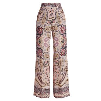 Широкие шелковые брюки с узором пейсли Etro