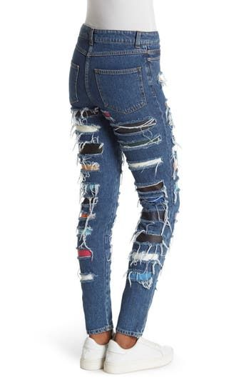 Ripped & Patched High Waisted Skinny Jeans Jeremy Scott