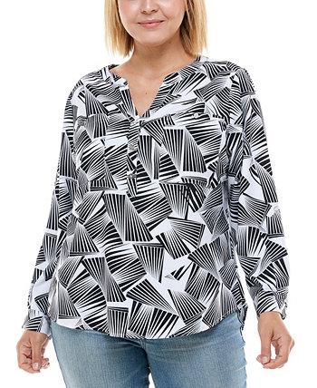 Plus Size 3/4 Sleeve Utility Top Adrienne Vittadini