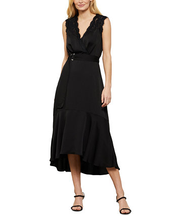 Платье миди с кружевным и атласным поясом BCBGMAXAZRIA