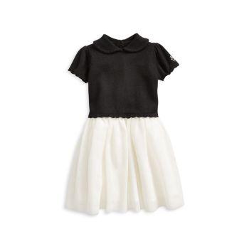 Праздничная шерсть для маленьких девочек и Платье-свитер из тюля Ralph Lauren
