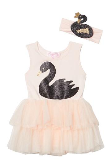 Платье-пачка в виде лебедя с подходящей повязкой на голову (для маленьких девочек) Popatu