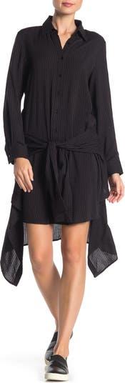 Платье-рубашка с длинным рукавом и завязками спереди TOV