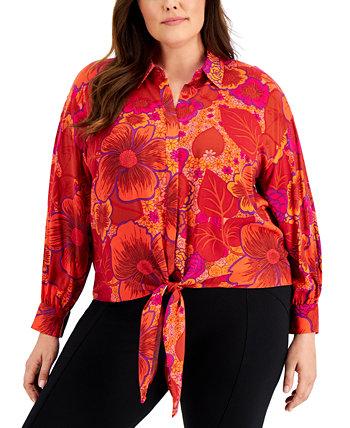 Блуза большого размера с принтом и завязками, создана для Macy's INC International Concepts