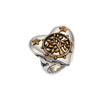 Кольцо-медальон в форме сердца Alexander McQueen