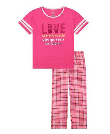 Длинная пижама в клетку Little Girls, комплект из 2 предметов Max & Olivia