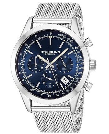 Мужские кварцевые часы с хронографом и датой, серебристые, с сетчатым браслетом из нержавеющей стали, 44 мм Stuhrling