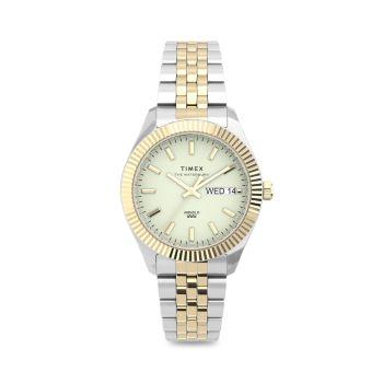 Waterbury Legacy Boyfriend Two-Tone Stainless Steel Bracelet Watch Timex