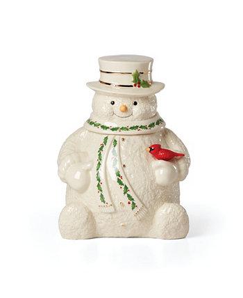 Баночка для печенья со снеговиком Happy Holly Days Lenox
