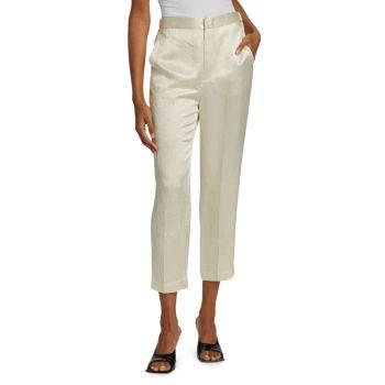 Укороченные атласные брюки Bergen с складками Rachel Comey
