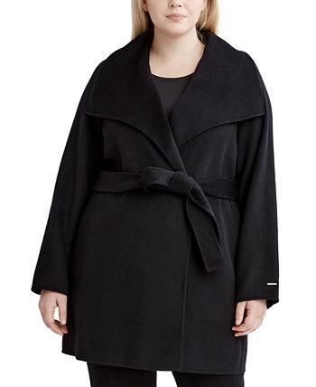 Пальто большого размера с запахом для двух лиц Ella, созданное для Macy's Tahari