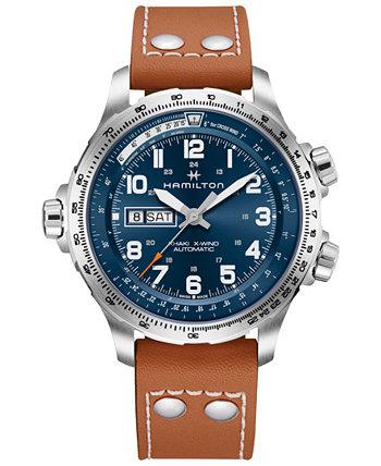 Мужские швейцарские часы цвета хаки X-Wind с коричневым кожаным ремешком 45 мм Hamilton