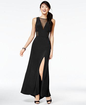 Юниорское платье трапециевидной формы с иллюзией без рукавов Morgan & Company