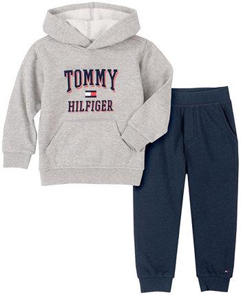 Классический пуловер с капюшоном из двух предметов для маленьких мальчиков и комплект джоггеров с логотипом Tommy Hilfiger