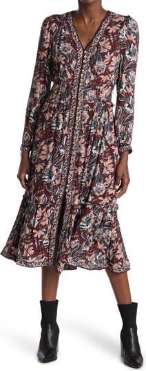 Floral Long Sleeve Button Maxi Dress Daniel Rainn