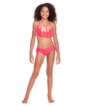 Комплект бикини Big Girls с воланами и принтом из фольги, 2 предмета Glitter Beach