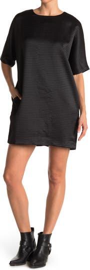 Textured Short Sleeve Shift Dress FRNCH