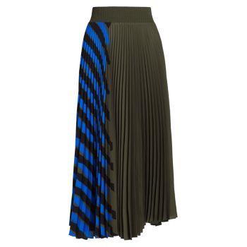 Плиссированная креповая юбка в полоску Proenza Schouler