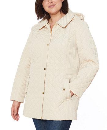 Водостойкая стеганая куртка с капюшоном большого размера Jones New York