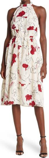 Многоярусное платье миди с оборками на талии и завязками Maggy London