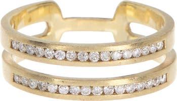 Кольцо с двумя полосками из желтого золота 585 пробы - размер 6.5 - 0,25 карата Meira T
