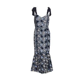 Кружевное платье-миди с оборками ML Monique Lhuillier