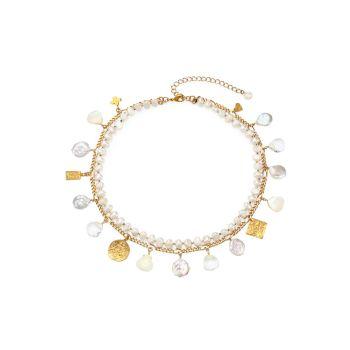 6,5-14 мм Pearl & amp; Многослойное ожерелье с подвеской из перламутра Chan Luu