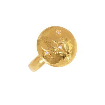 Заклинание Желтое золото 22K & amp; Коктейльное кольцо Diamond Starlight Gurhan