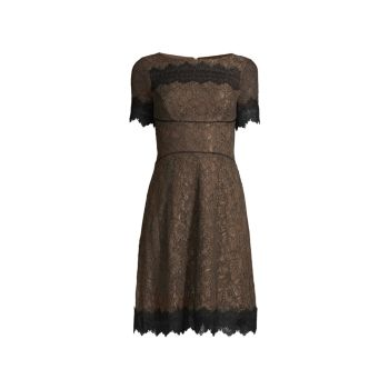 Зубчатое кружево Fit & amp; Платье-клеш SHANI