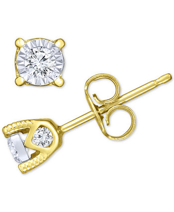 Серьги с бриллиантами-гвоздиками (3/8 кар. В весе) из белого, желтого или розового золота 14 карат TruMiracle