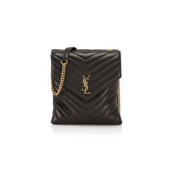 Кожаная сумка через плечо Matelassé с двумя клапанами Saint Laurent