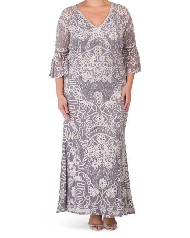 Сутажное платье с вышивкой из бисера Plus JS Collections