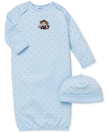 Комплект шапки и платья с обезьяной для маленьких мальчиков Little Me