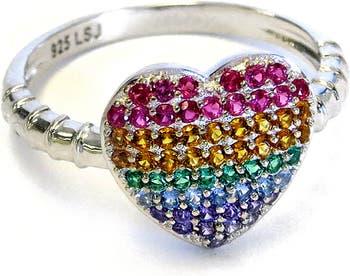 Разноцветное кольцо в форме сердца с фианитом Liza Schwartz