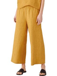 Укороченные брюки с широкими штанинами из вымытого органического льна Delave Eileen Fisher