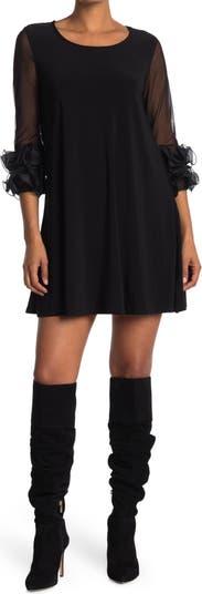 Ruffle Mesh Sleeve Dress Nina Leonard