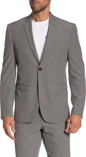 Серый однотонный технологический костюм с двумя пуговицами и лацканами с зазубринами. Perry Ellis