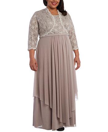 Платье больших размеров с украшением и кружевной жакет R & M Richards