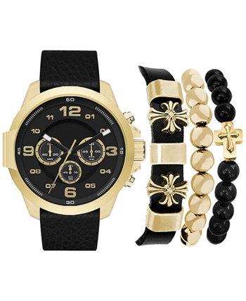 Мужские часы с хронографом с кварцевым черным кожаным ремешком, 46 мм, набор браслетов в ассортименте, подарочный набор, набор из 4 American Exchange