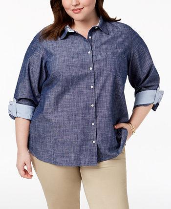 Рубашка большого размера из хлопка и шамбре с закрученными рукавами, создана для Macy's Tommy Hilfiger