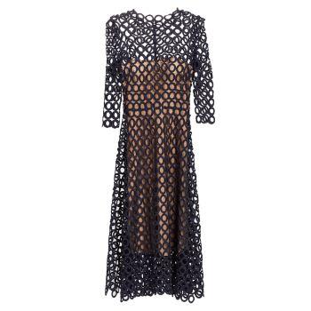 Гипюровое платье-трапеция с круглым вырезом Oscar de la Renta