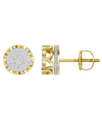 Мужские серьги с бриллиантами (1/6 карата) из желтого золота 10 карат Macy's