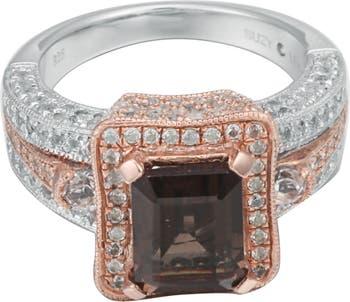 Двухцветное кольцо из стерлингового серебра с дымчатым кварцем и белым топазом Suzy Levian