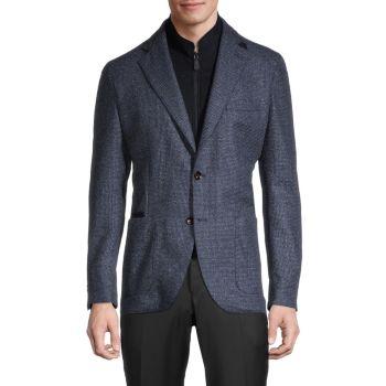 Текстурированная натуральная шерсть стандартного кроя и натуральная шерсть стандартного кроя Кашемировый пиджак LUBIAM