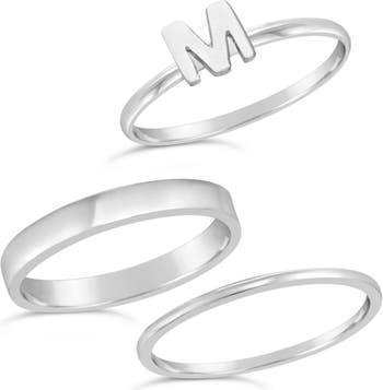 Первоначальное кольцо из стерлингового серебра - набор из 3 штук - M Sterling Forever