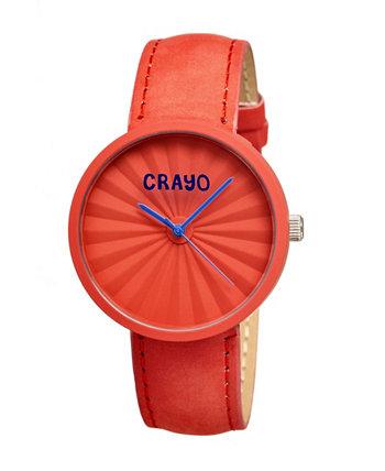 Часы унисекс со складками, красный ремешок из натуральной кожи, 40 мм Crayo