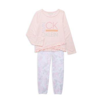 Двухкомпонентный топ с логотипом и логотипом Little Girl; Комплект камуфляжных джоггеров Calvin Klein Jeans