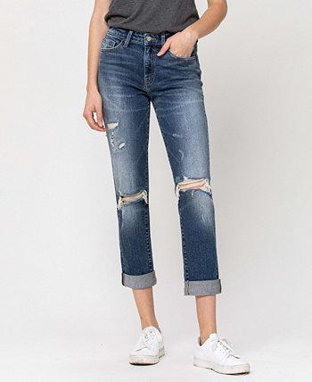 Женские стрейч-джинсы с эффектом потертости Roll Up Mom FLYING MONKEY