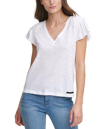 Топ с V-образным вырезом и развевающимися рукавами DKNY Jeans